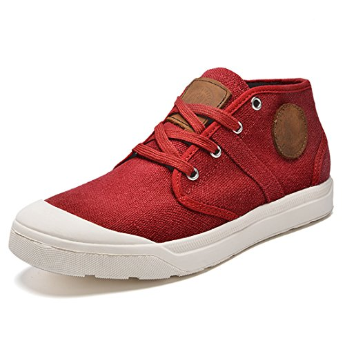 Xiafen Mens Mode Automne Mi-coupe Appartements Confortable Lacets Casual Baskets Chaussures Rouge