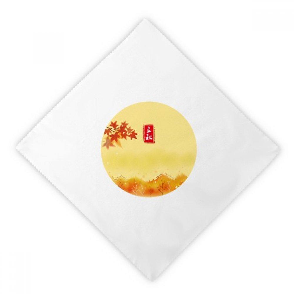 DIYthinker Autumn Begins Twenty Four Solar Term Dinner Napkins Lunch White Reusable Cloth 2pcs