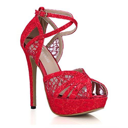 Women Lace Red Platform Open Toe Sandal Dress Pumps Summer Shoes Pub Club Prom Party Wedding Bridal Strappy Heeled Thin Heels Elegant Steady Step SM00228