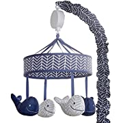 Wendy Bellissimo Baby Mobile Crib Mobile Musical Mobile - Whale Mobile from the Landon Collection in Navy and Grey