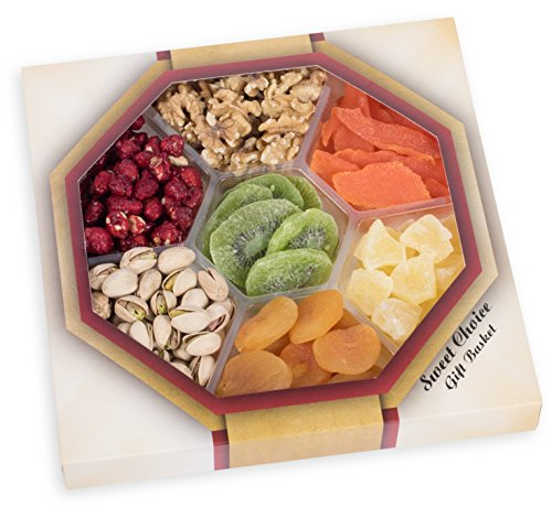 SWEET CHOICE!,. gourmet food nuts gift basket(JUMBO)6-section (DRIED FRUIT NUT TRAY)