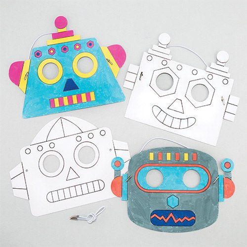 Baker Ross Robot Color-in Craft Masks (Pack of 6) for Kids to Make & Decorate - Dress Up or Carnival / Mardi Gras Party -