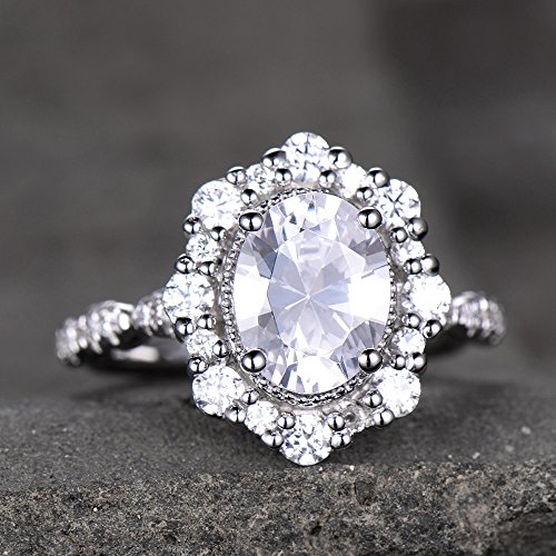 Antique Engagement Ring Diamond Simulated Wedding Ring Vintage Floral Halo Princess Diana Ring Bridal Ring Cluster Ring Sterling Silver White Gold - Princess Antique Engagement Ring Diamond