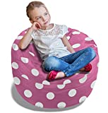 BeanBob Bean Bag Chair (Pink w/Polka Dots), 2.5ft - Bedroom Sitting Sack for Kids w/Super Soft Foam Filling
