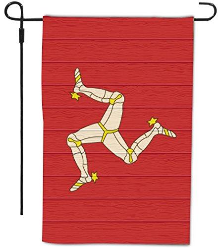Rikki Knight Isle Of Man Flag on Distressed Wood Design Deco