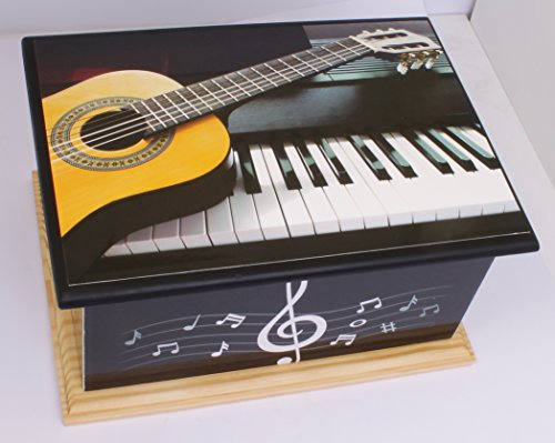 UrnsWithLove Wood Cremation Ashes Casket Urn, MDF and Teakwood Urn, Funeral Memorial Remembrance Urn (Piano Guitar)