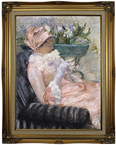"""Historic Art Gallery the Cup of Tea 1880 by Mary Cassatt Framed Canvas Print, 18"""" x 24"""", Ornate Gold Lined"""