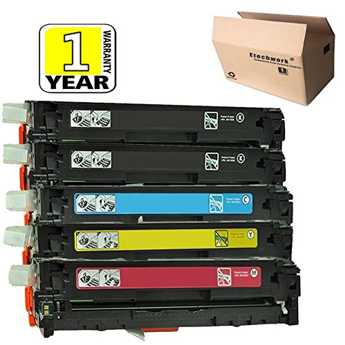 5k Pages Magenta Toner - 131A Toner Cartridge 5 Pack of CF210A CF211A CF212A CF213A Toner Cartridge (2 Black+M+C+Y) Compatible for LASERJET PRO 200 M251N M251NW M276N M276NW Printers, Etechwork Brand