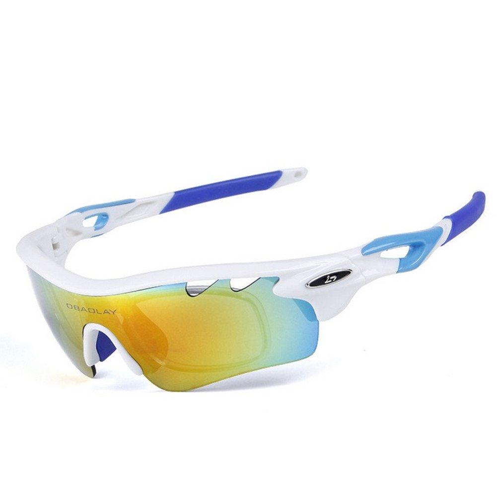 Lorsoul 偏光スポーツサングラス 交換可能なレンズ5枚付き メンズ レディース サイクリング ランニング ドライビング 釣り ゴルフ 野球 グラス  ホワイト&ブルー B071XLK741