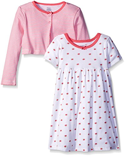 (Gerber Little Girls' Toddler Two-Piece Cardigan and Dress Set, Watermelon, 5T)