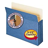 Smead Products - Smead - 3 1/2 Expansion Colored File Pocket, Straight Tab, Letter, Blue - Sold As 1 Each - 6 1/2 high gussets reinforced at top with Tyvek strip. - Back of pocket lined with Manila for additional strength and identification of subject. - Fold down front. - Bottom and sides fully enclosed keeping contents secure. - by Smead
