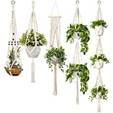 TOOGOO 5-Pack Macrame Plant Hangers, Different Tiers, Handmade Cotton Rope Hanging Planters Set Flower Pots Holder Stand…