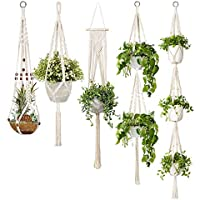 TOOGOO 5-Pack Macrame Plant Hangers, Different Tiers, Handmade Cotton Rope Hanging Planters Set Flower Pots Holder Stand, for Indoor Outdoor Boho Home Decor