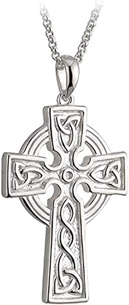 Biddy Murphy Celtic Cross Necklace for Men Sterling Silver Double Sided Made in Ireland