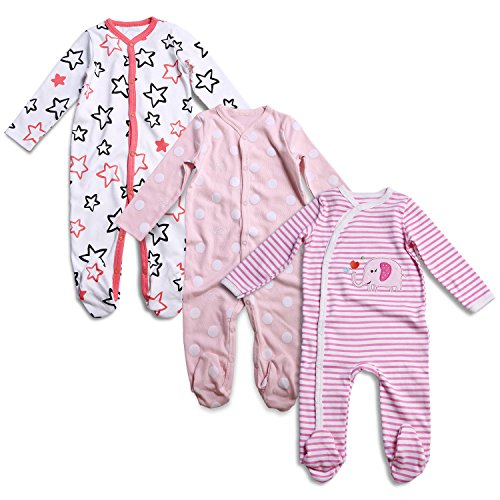 OPAWO Baby Girl Footed Sleeper Pajamas Long Sleeve Cotton Romper Overall 3 Pack 9-12 (Girls Footed Sleeper Pajama)