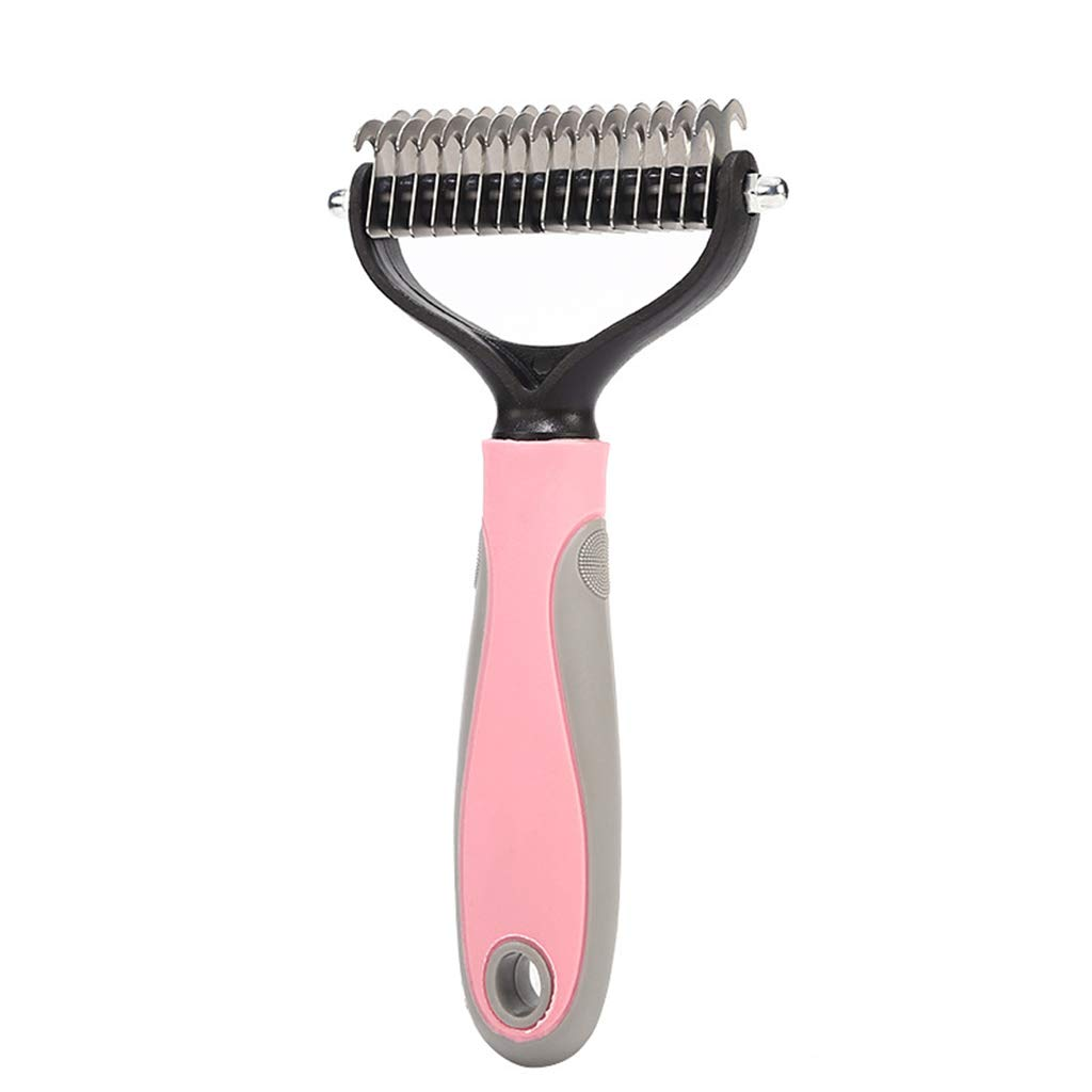 SummarLee Pet Comb Stainless Steel Smooth Hair Knot Comb Dog Cat Massage Beauty Hair Removal Comb Rubber Non-Slip Handle Pink Blue 17.57.5 cm,Pink by SummarLee