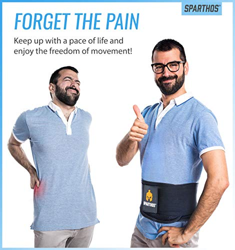 Back Brace by Sparthos - Immediate Relief for Back Pain, Herniated Disc, Sciatica, Scoliosis and more! - Breathable Mesh Design with Lumbar Pad - Adjustable Support Straps - Lower Back Belt [Size Med]