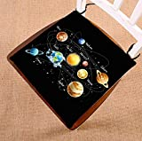 Custom Funny Educational Solar System Planetary Orbit Seat Cushion Chair Cushion Floor Cushion Twin Sides 16x16 inches
