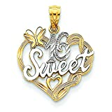 14K Two Tone Gold Sweet 16 Pendant Charm Jewelry 23 x 18 mm