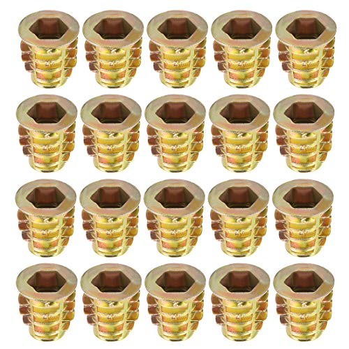 uxcell Threaded Insert Nuts Zinc Alloy Hex Socket M8 Internal Threads 15mm Length 20pcs