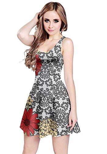 Floreale Abito Womens Nero Maniche Xs Fiori Della Cowcow 5xl Boemia Senza Paisley Damasco Damasco ZZIXq