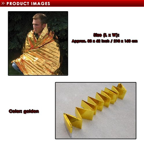 """2 PCS 83"""" X 62"""" Waterproof Emergency Survival Foil Thermal First Aid Rescue Blanket Gold"""