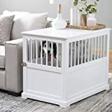 Durable Wood Construction,Well-Ventilated with 1 Door Newport II Pet Large Crate End Table White Finish