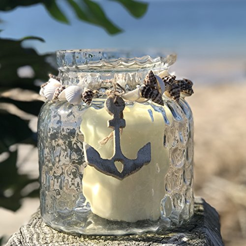 Whole House Worlds The Cape Cod Mariner's Anchor Wind Light, Nautical Candle Hurricane Holder, Wood, Shell, Twine Detail, Wavy New England Glass Jar, 6 Inches, For LED and Wax Tealight (Shell Hurricane)