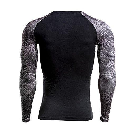 Sport De 01 Compression Noir Jogging Sfit T shirts Longues Rapide Homme Fitness Vêtements Séchage Manches XqwgfUBSRf