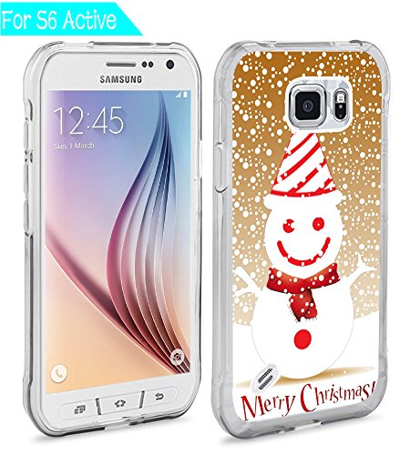 (S6 Active Case Merry Christmas,Ecute S6 Active Soft Slim Flexible Clear Rubber Side + Style Hard Back Case for Samsung Galaxy S6 Active - A Snowman for Merry Christmas)