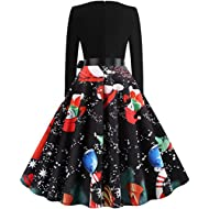 Dermanony Women's 50s Vintage Dress Winter Long Sleeve Christmas Musical Print Flare Sleeve Dress A-Line Party Dress