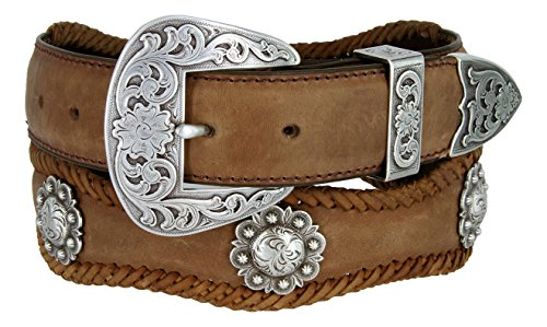 [Fort Worth Berry Conchos Western Leather Scalloped Belt Brown 46] (Concho Western Leather)
