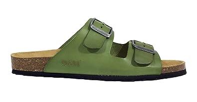 Oak & Hyde Malaga Vintage Green Leather (Birkenstock Style Sandals)