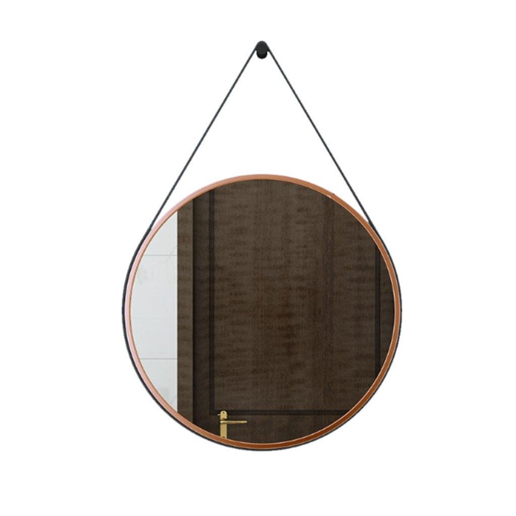 European-style Badezimmer-Spiegel-runde Spiegel-Verfassungs-Spiegel Badezimmer-Spiegel-Wand-Spiegel, der Spiegel Schmiedeeisen-Spiegel kleidet Wandspiegel ( Farbe   Rosengold , größe   60 )
