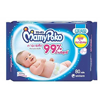 Mamy Poko GENTLE CLEANSING WIPES 80 Sheets(Pack of 3),its Soft Cotton material made to effectively remove dirt and germs(by send you happiness)