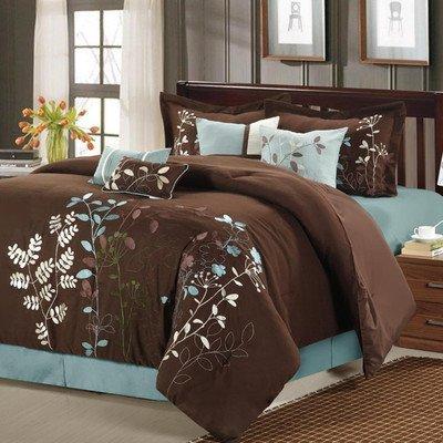 Comforter Garden - Bliss Garden 12 Piece Comforter Set Size: Queen, Color: Brown