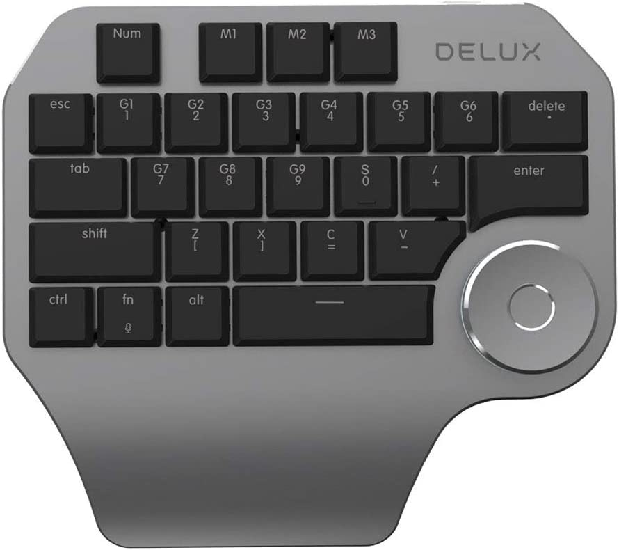 Black 1 Pc Portable 28-Key Wired Single-Handed Designer Michanical Keyboard with Rotary Knob