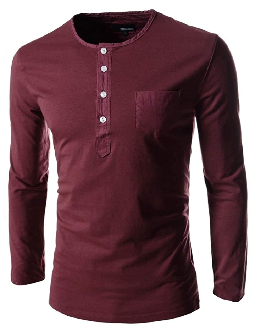YUNY Mens Plus Size Mid-Long Pullover Scoop Tees Pullover Top Wine Red XL