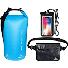 Freegrace Waterproof Dry Bags Set of 3 - Dry Bag 2 Zip Lock Seals & Detachable Shoulder Strap, Waist Pouch & Phone Case - Can Be Submerged Into Water Swimming, Kayak, Rafting & Boating
