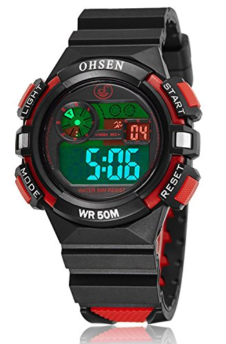 Price comparison product image Girl Boy Children Digital Sport Alarm Chronograph LED Back Light Date Waterproof Student Rubber Watch (Red)