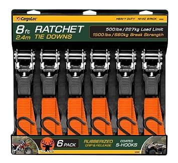 1 x 8 x 1,500 lbs S-Hooks CAMO 84018 CargoLoc Ratchet Tie Downs 2 Pc