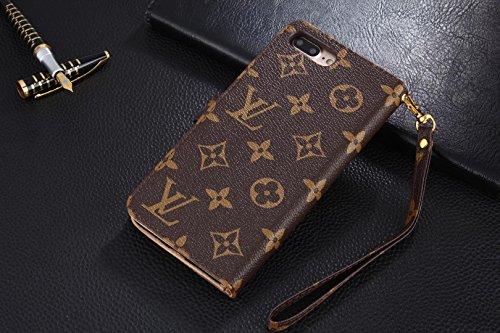 Big Floral Monogram Brown Luxury Elegant Bifold Magnetic Leather Clip Pocket Women Men Girls Boys Flip Wallet case for Apple iPhone 7 Plus and iPhone 8 Plus