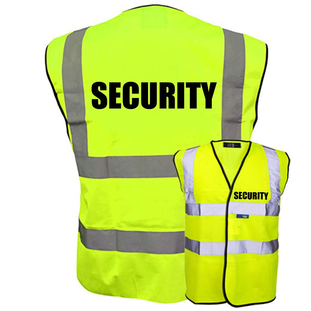 SECURITY Hi Vis Vest Waistcoat Safety Reflective Jacket High Visibility Black Yellow