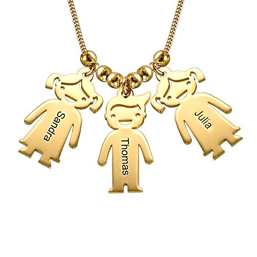 MyNameNecklace Personalized Children Charms Mothers Necklace - Engraved Boy-Girl Charm - Gold Plated Gift for ()