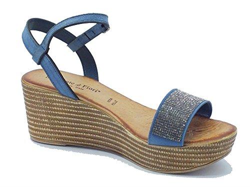 Mercante di Fiori DMO 45542 Camoscio Blu - Sandalias de vestir de Piel para mujer Camoscio Blu