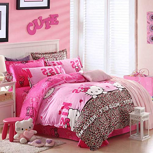 HOLY HOME My Daughter's Birthday Gift Bedding, Leopard Print & Hello Kitty Cat Duvet Cover Set 4 Piece Cotton Bedclothes (Full) - Hello Kitty Leopard Print