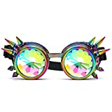 Naladoo Kaleidoscope Fantacy Colorful Glasses Rave Festival Party EDM Portable Sunglasses Diffracted Lens(With Rivets)