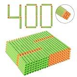 Goshfun 400Pcs High Buffered Refill Foam Darts Foam Bullets for Nerf N-Strike Elite Blaster - Orange Head + Light Green Sponge