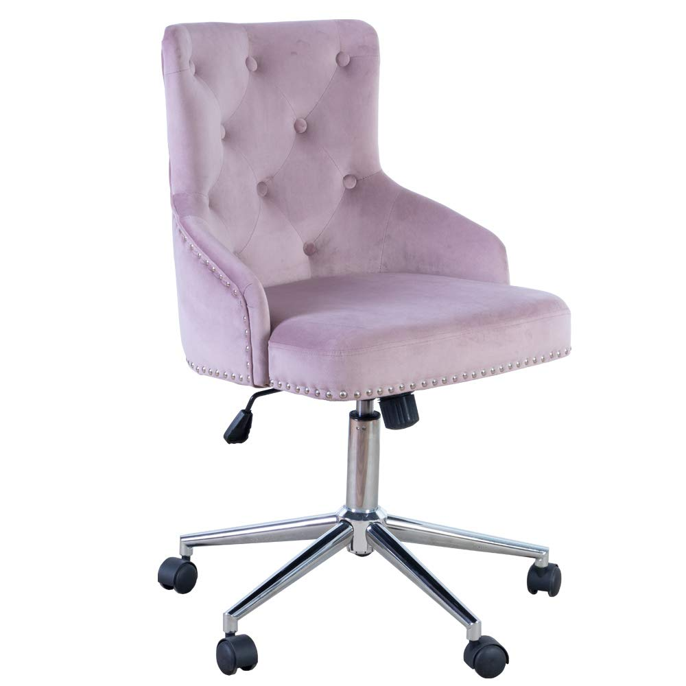 Irene House Modern Mid-Back Tufted Velvet Fabric Computer Desk Chair Swivel Adjustable Accent Home Office Task Chair Executive Chair with Soft Seat (Pink Mauve)