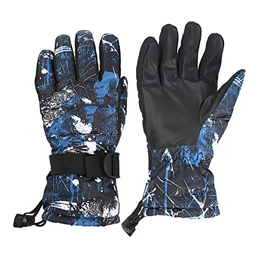 Muuttaa Ski Gloves, Winter Warmest Waterproof Breathable Snow Gloves for Mens,Womens,Ladies and Kids Skiing (Blue, XL (Fits Mens Size))